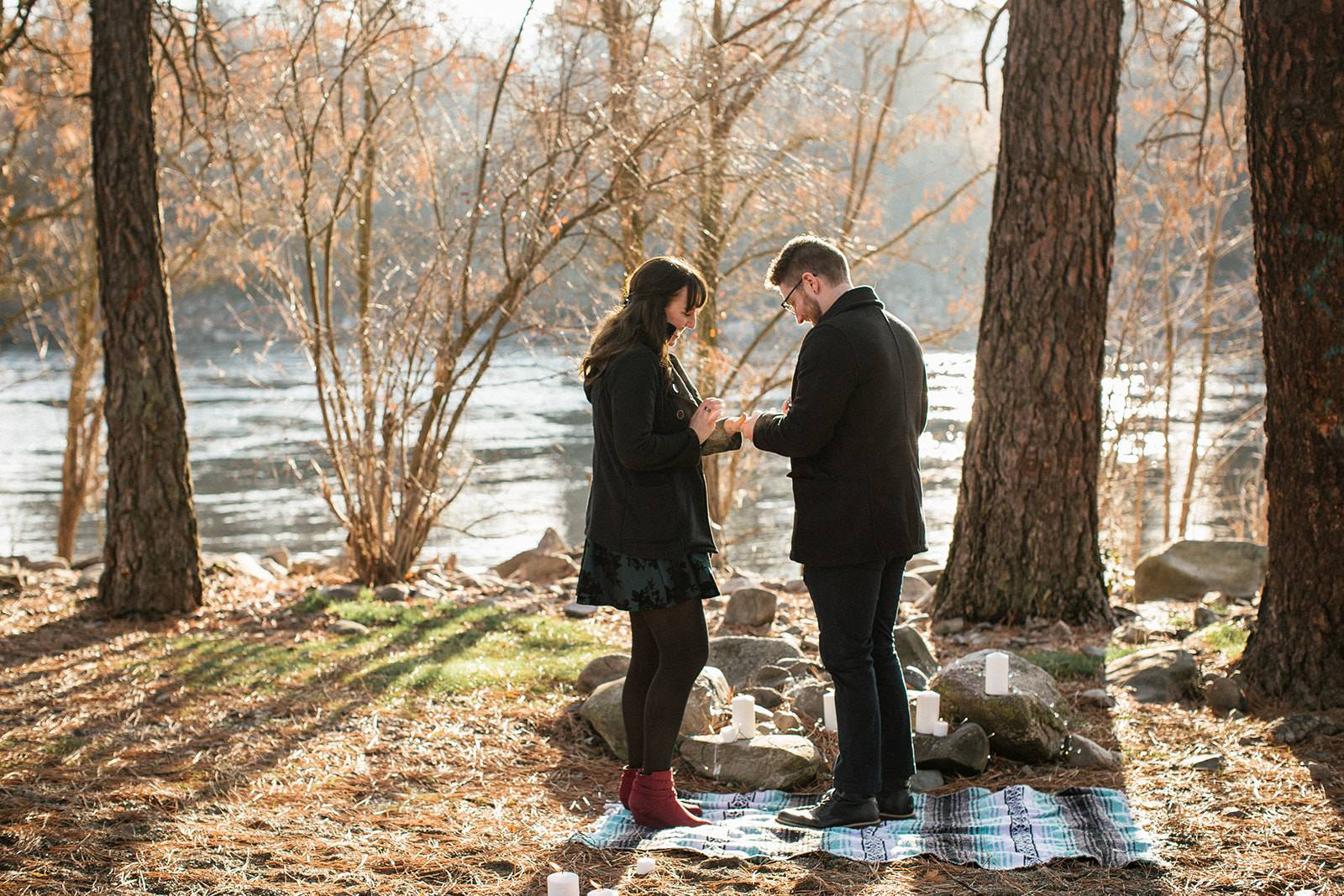 Sweet and Unexpected Surprise Proposal in the Forest on Apple Brides