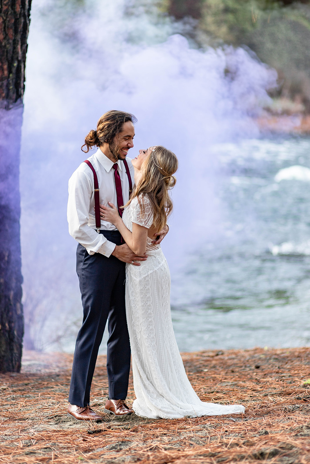 Colored Smoke Bomb Wedding Photo