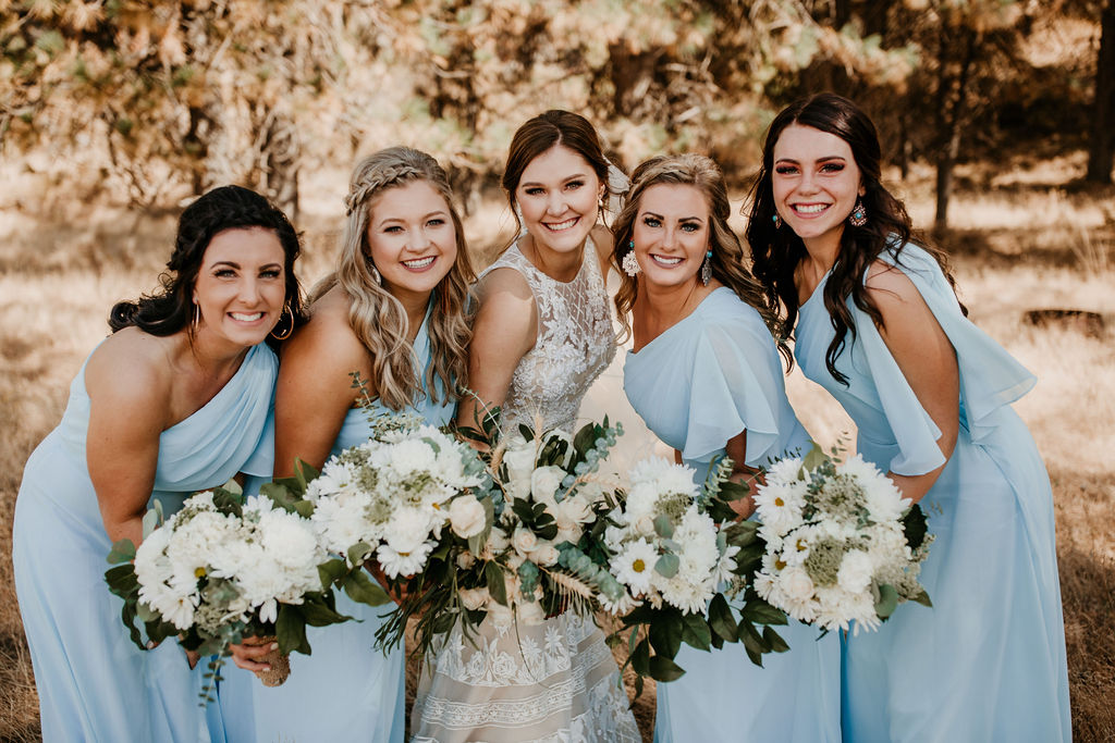 Light Blue Bridesmaids | Rustic DIY Ranch Wedding on Apple Brides