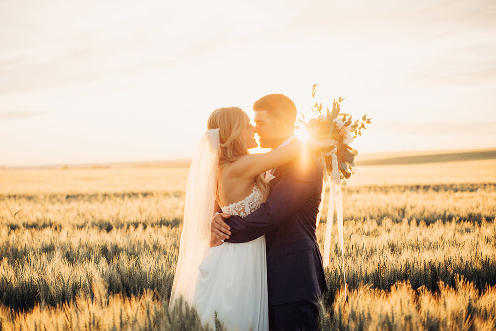 Bride and Groom At Golden Hour On Apple Brides