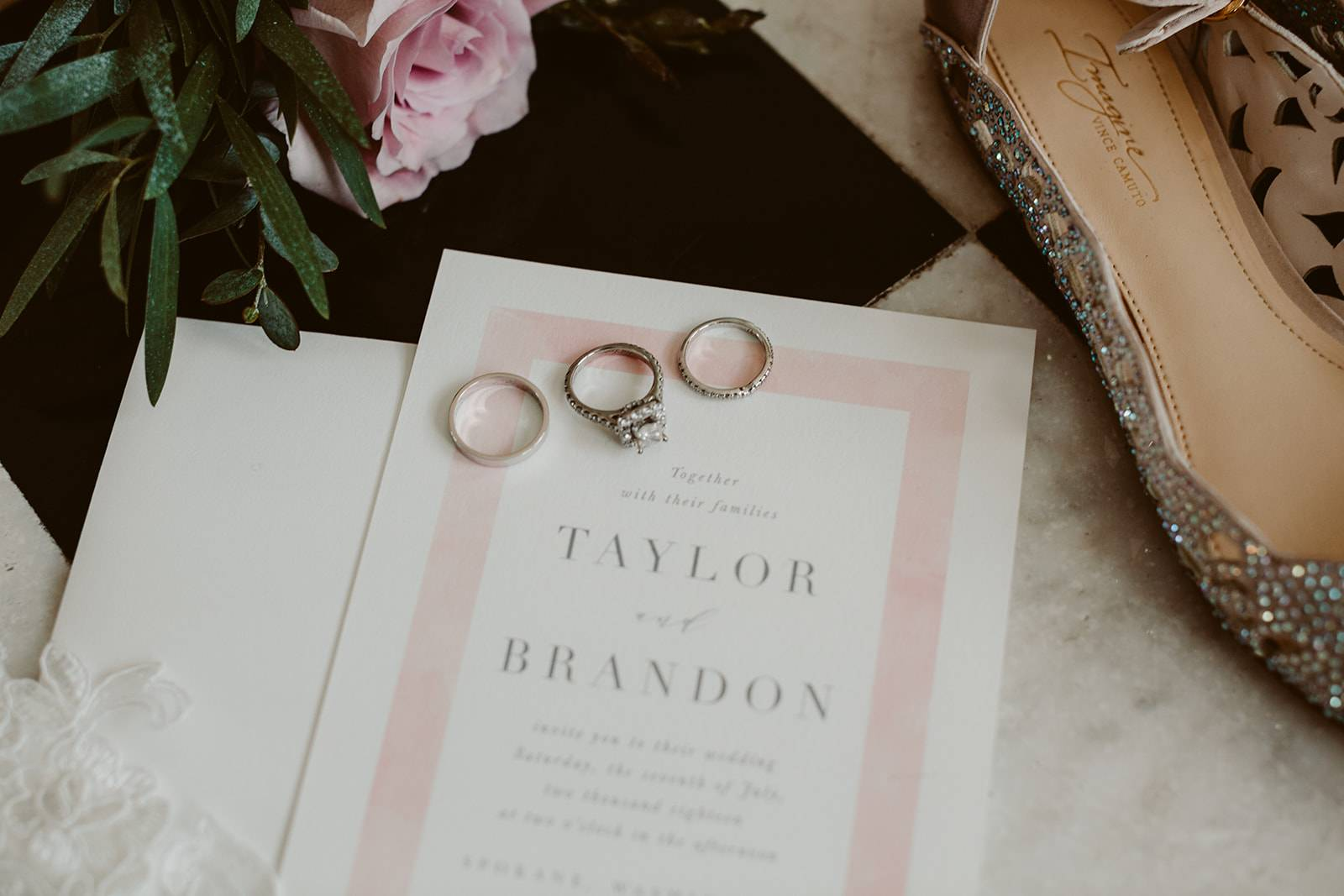 Rings and Blush Invitation on Apple Brides