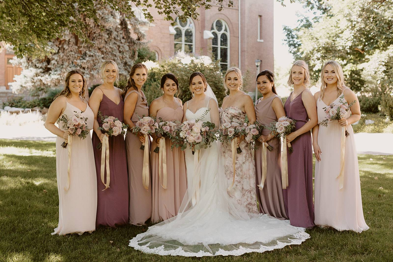 Blush Mix and Match  Bridesmaids on Apple Brides