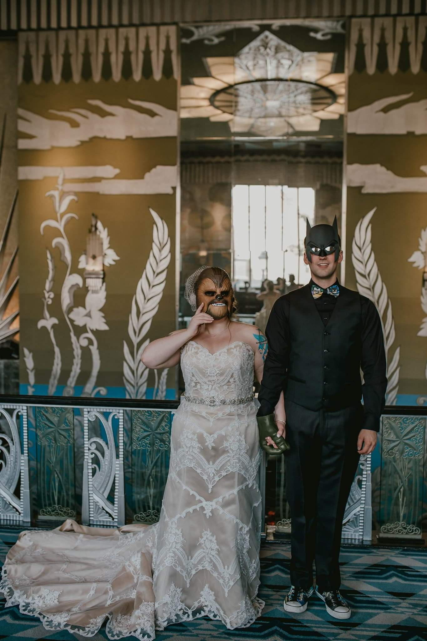 Nerdy Pop Culture Wedding at Historical Theatre in Spokane on Apple Brides