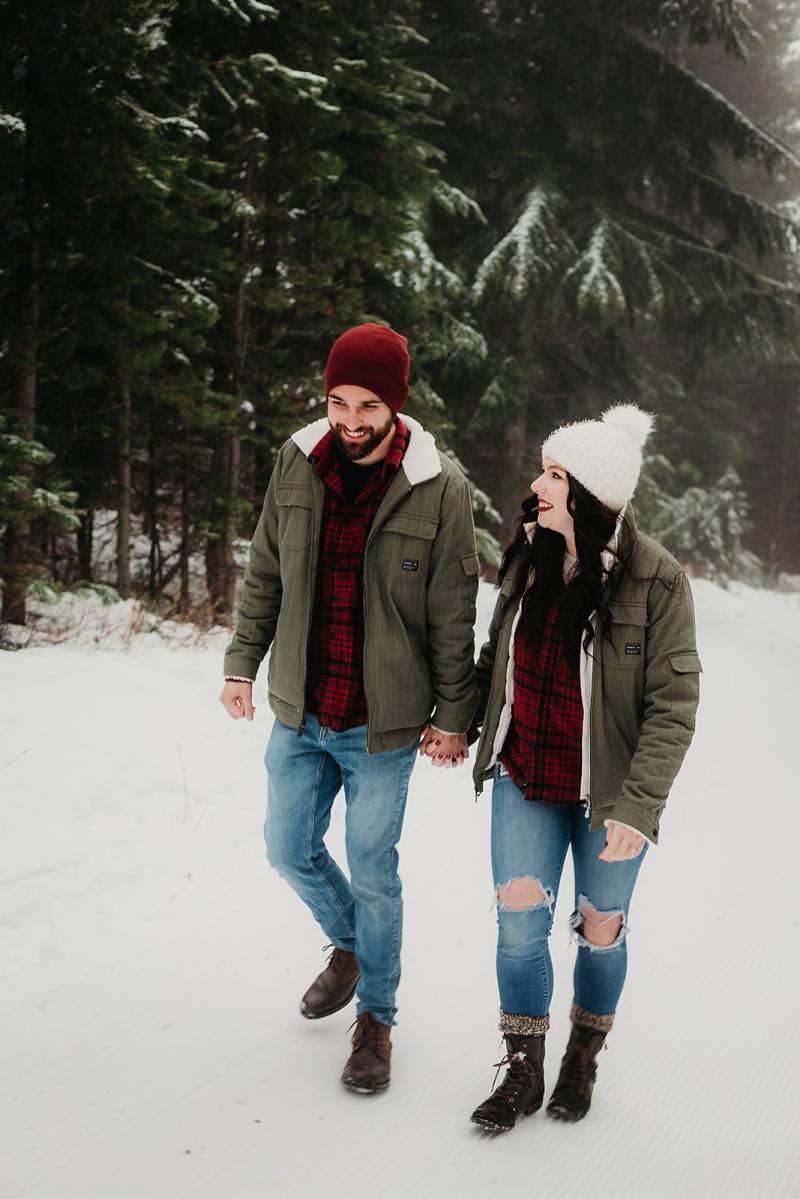 Snowy Adventure Winter Engagement on Apple Brides