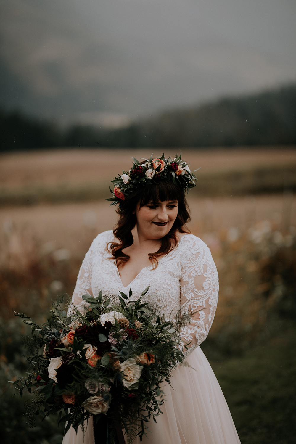 Foggy Intimate Scenic Wedding on Apple Brides