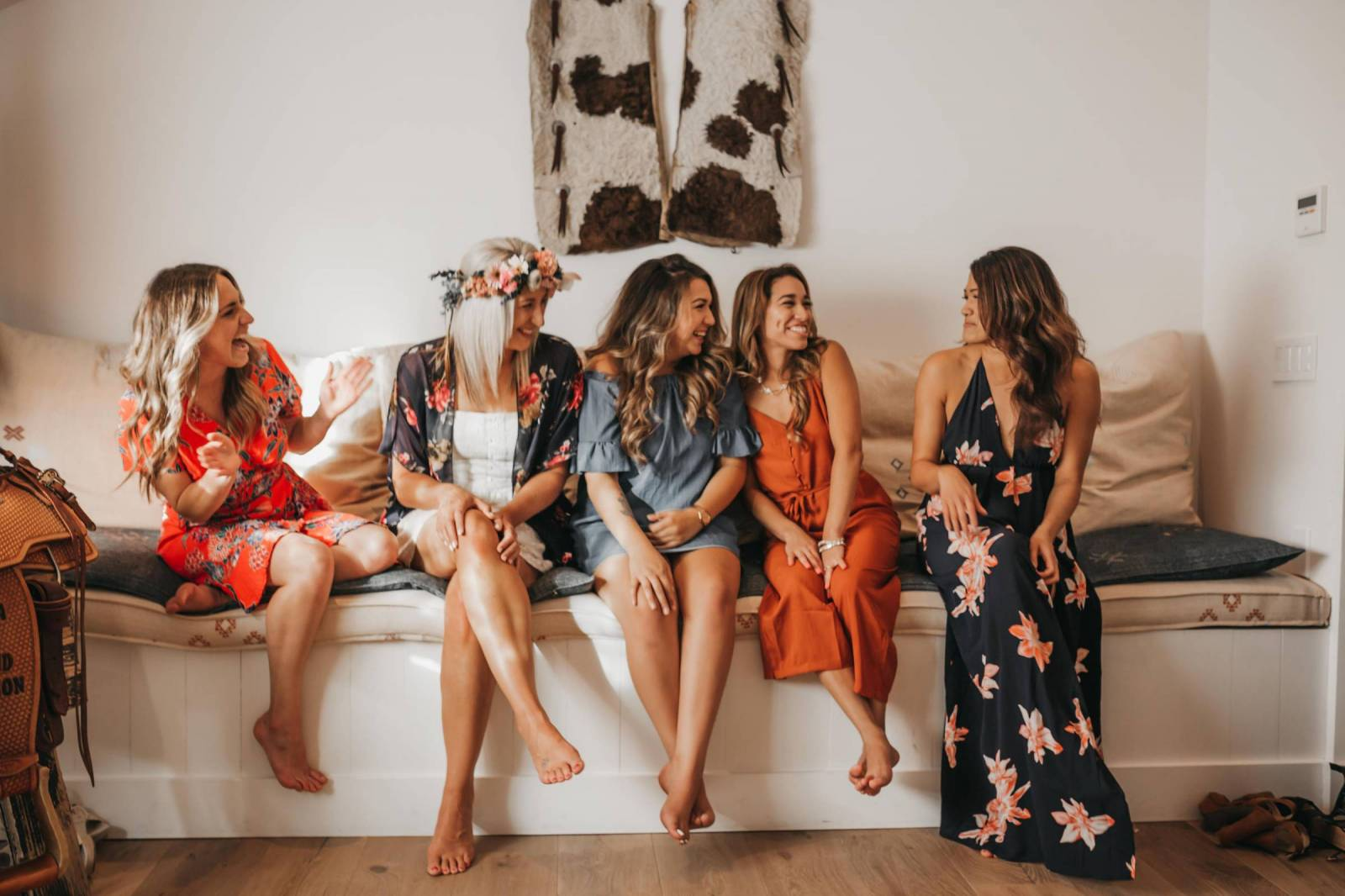flowers, orange, dress, friends