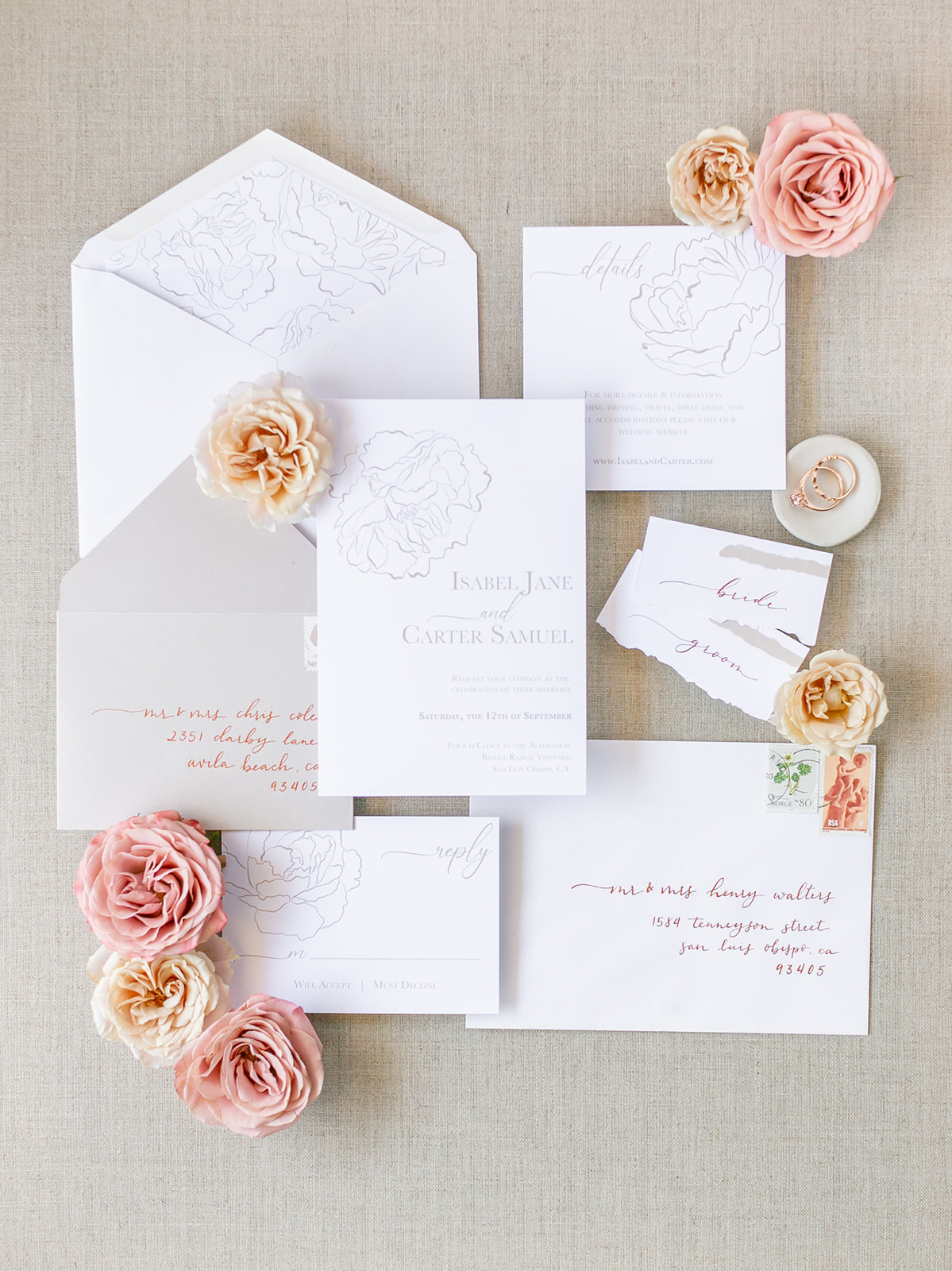 invitation, stationary, flowers, details