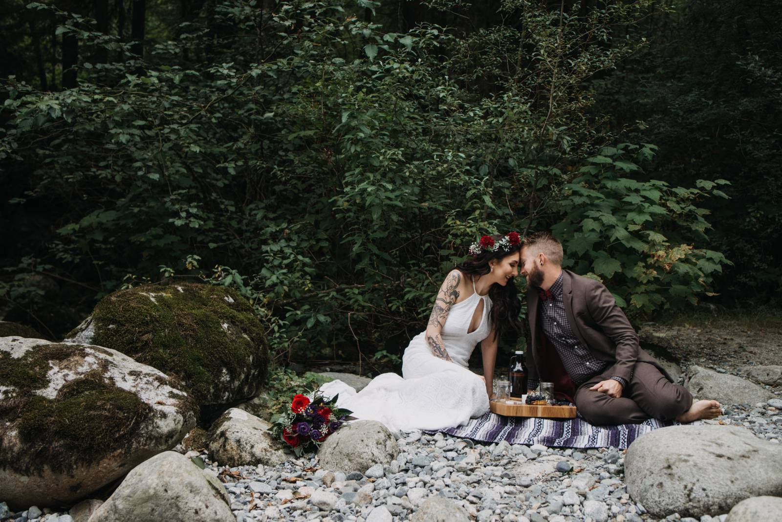 Newly wed couple after they eloped in Lynn Headwaters Park, North Vancouver