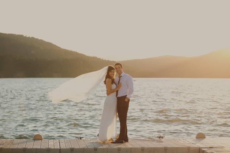 lakeside photo of bride and groom | wedding photo captured by Montana wedding photographer Jennifer