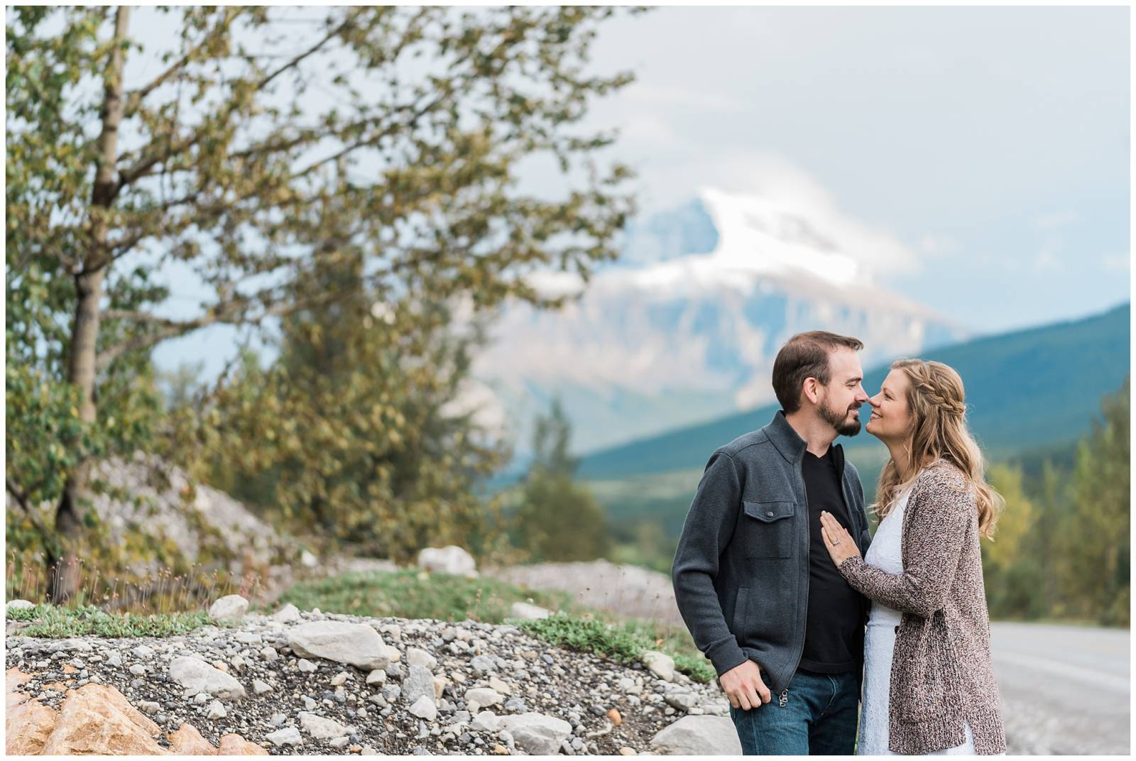 Canadian Rocky Mountain engagement photo captured by wedding photographer Chic & Grace Studios