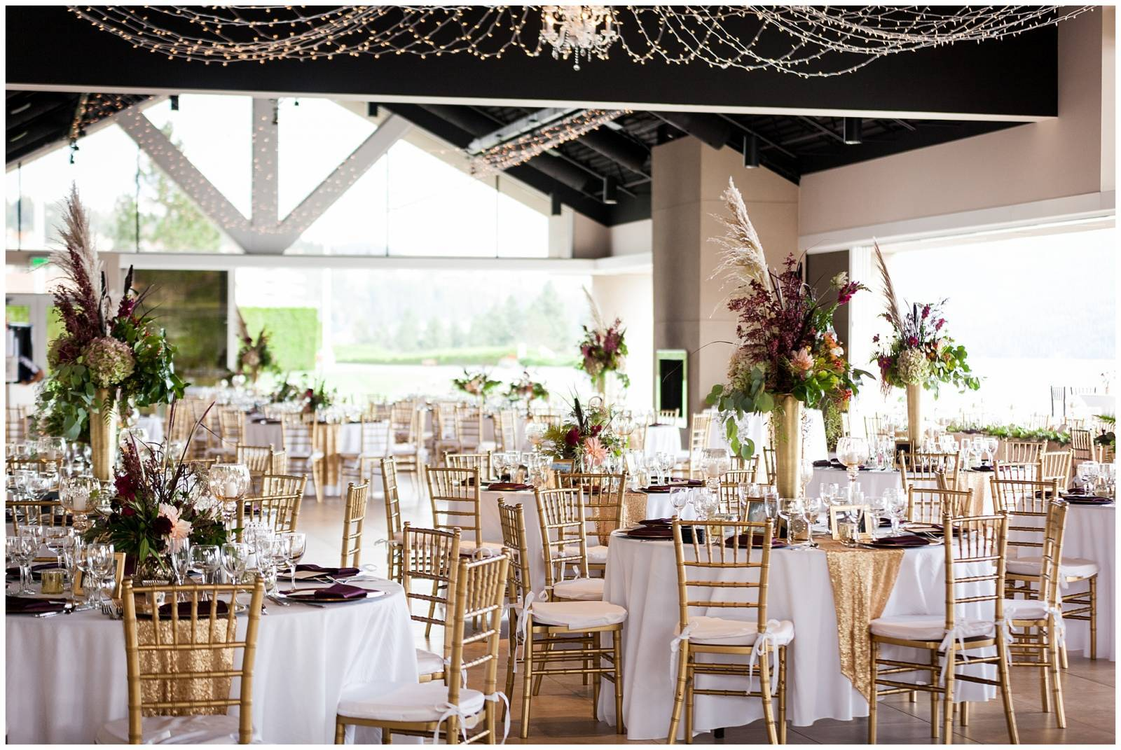 gold and maroon wedding reception inspiration at The Coeur d'Alene Resort