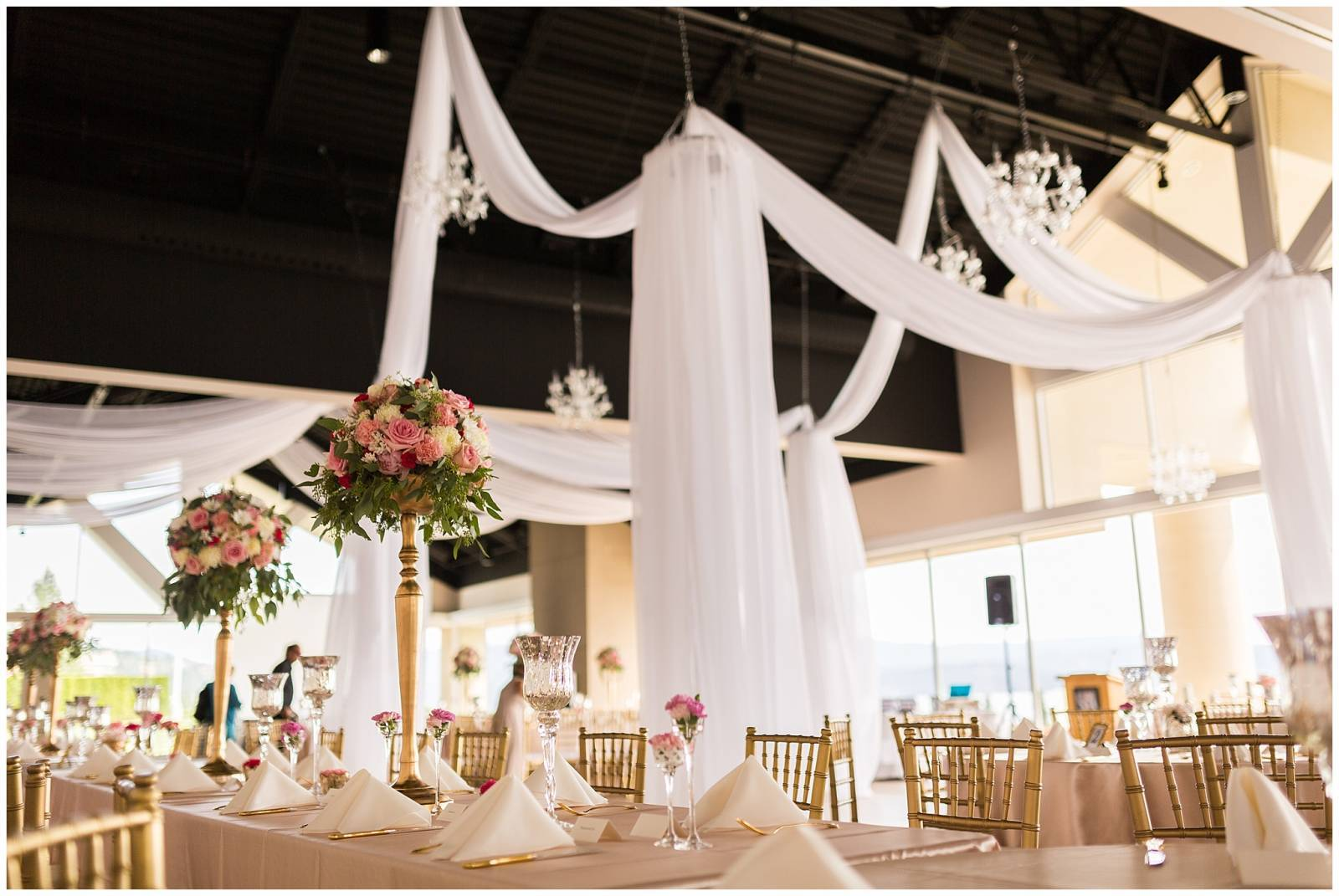 elegant reception decor at The Coeur d'Alene Resort