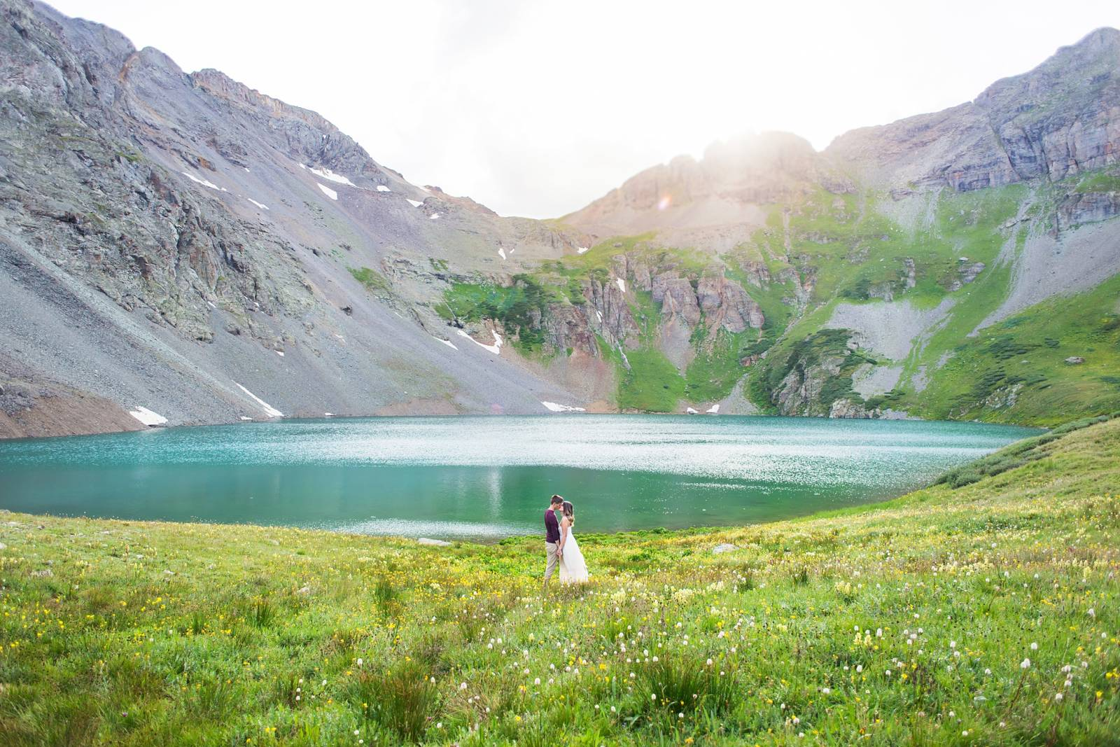 epic lakeside engagement photo captured by New Mexico wedding photographer Julie Haider Elopements