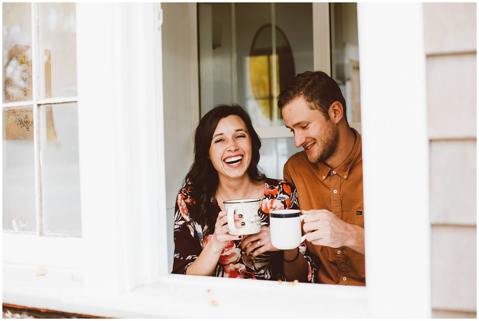 young couple drinking coffee | moody engagement inspiration