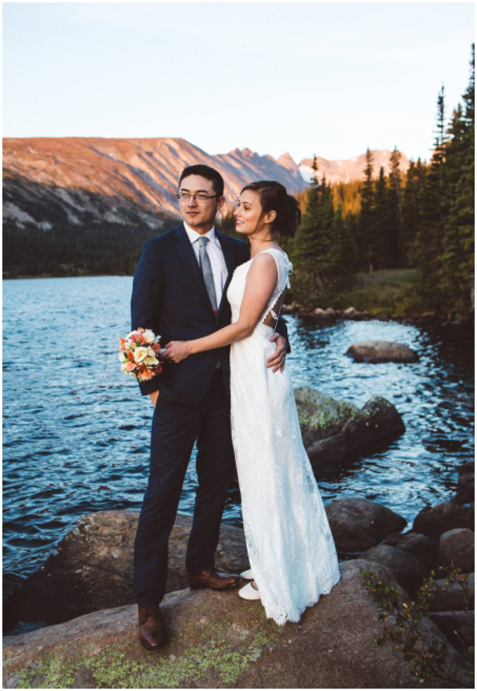 Rocky Mountain destination wedding at sunset | portrait of bride and groom by Shayla Velazquez Photo