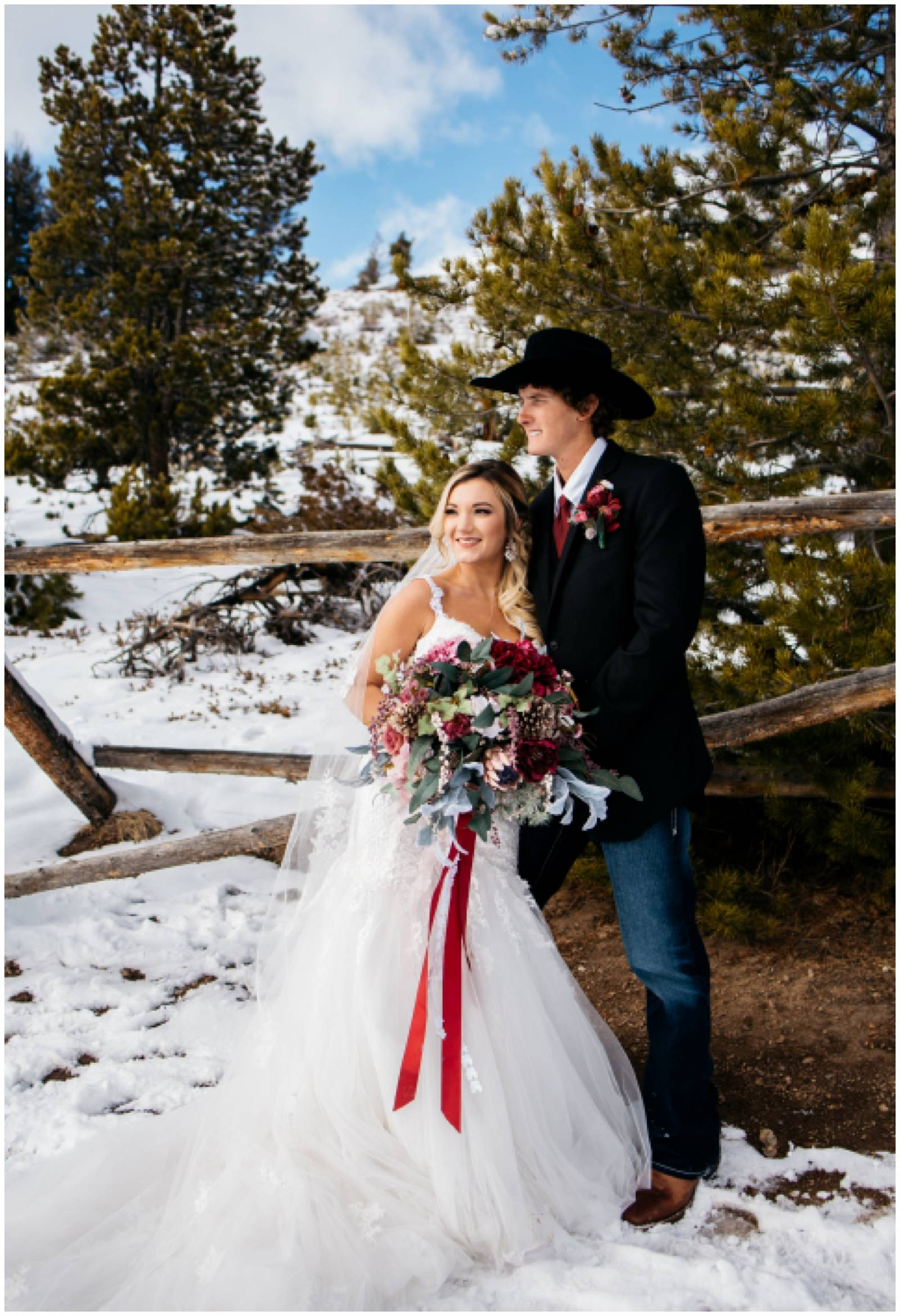 winter Rocky Mountain destination wedding of cowboy groom with his bride| Shayla Velazquez Photograp