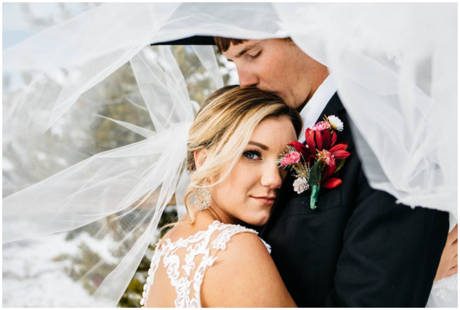 cowboy groom kissing bride under veil captured by Shayla Velazquez Photography