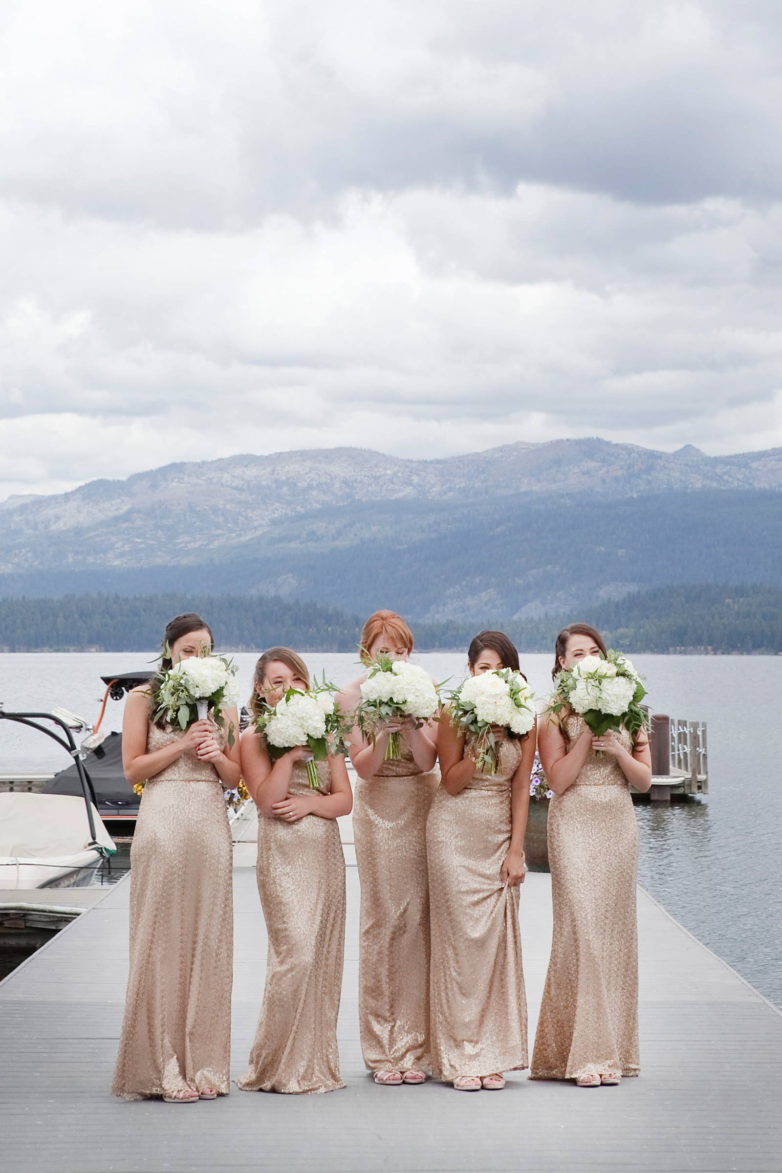 destination Rocky Mountain wedding | photo by Tana Photography | bridesmaids in gold dresses