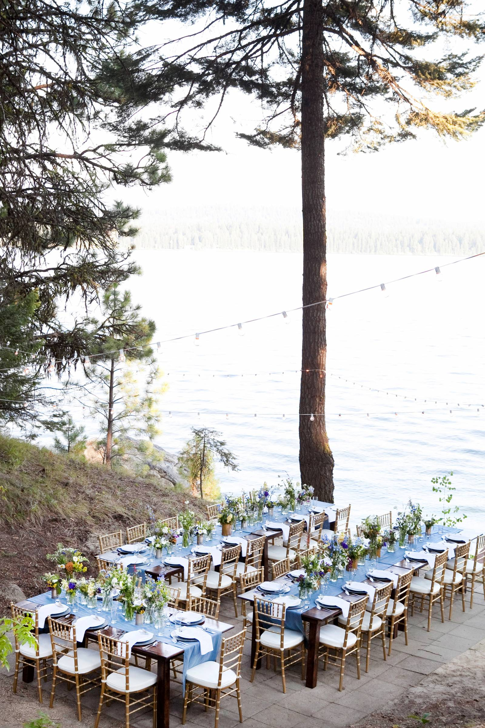 lakeside blue themed wedding reception inspiration captured by Tana Photography