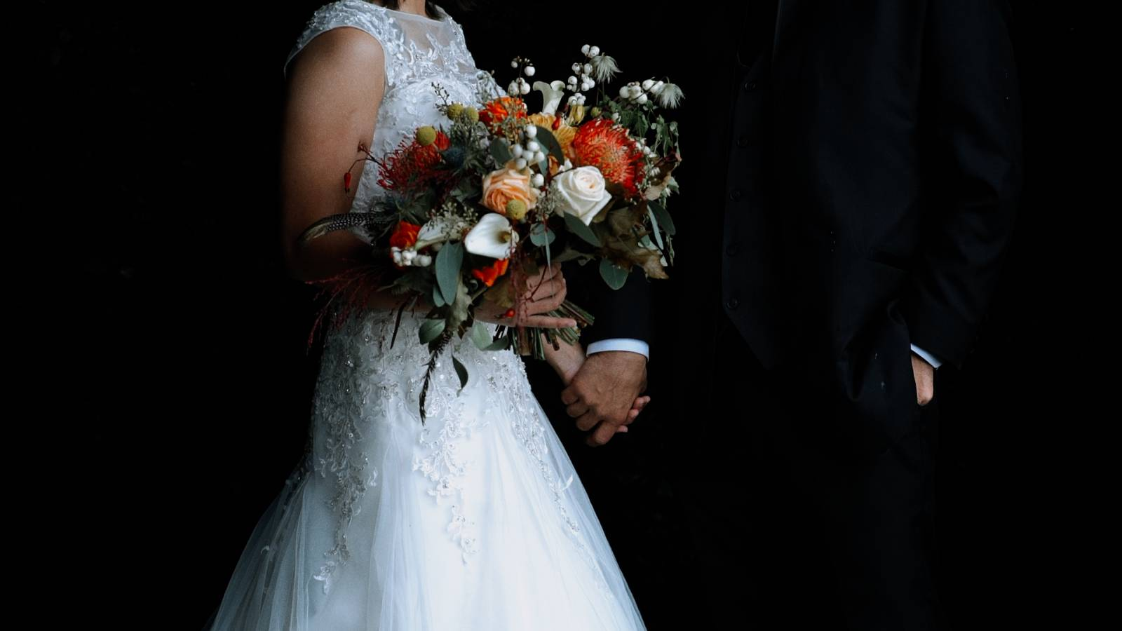 wedding portrait of bride and groom | bouquet inspiration captured by Basecamp Visual