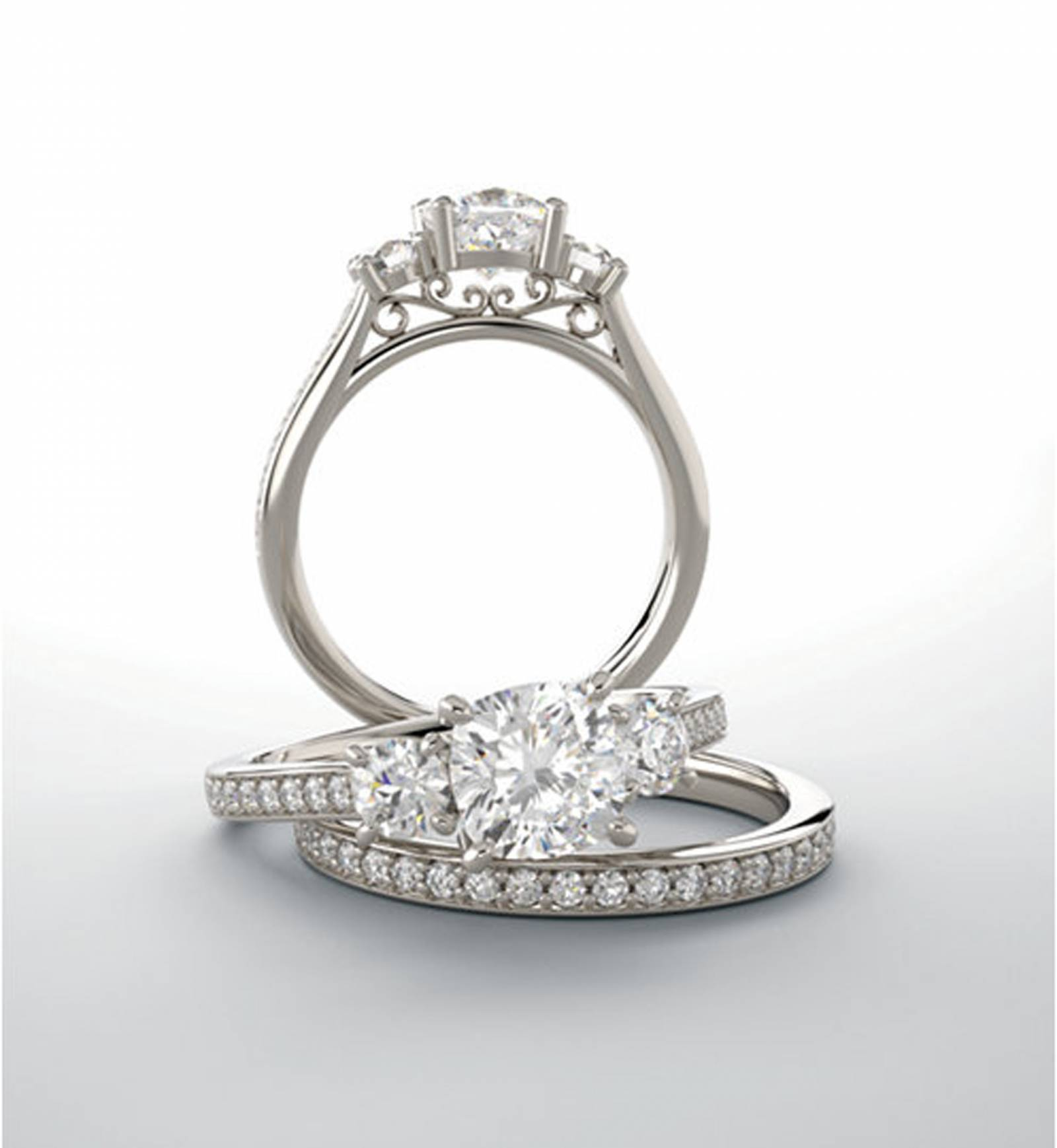 silver diamond wedding and engagement rings designed by McCall Jewelry Company