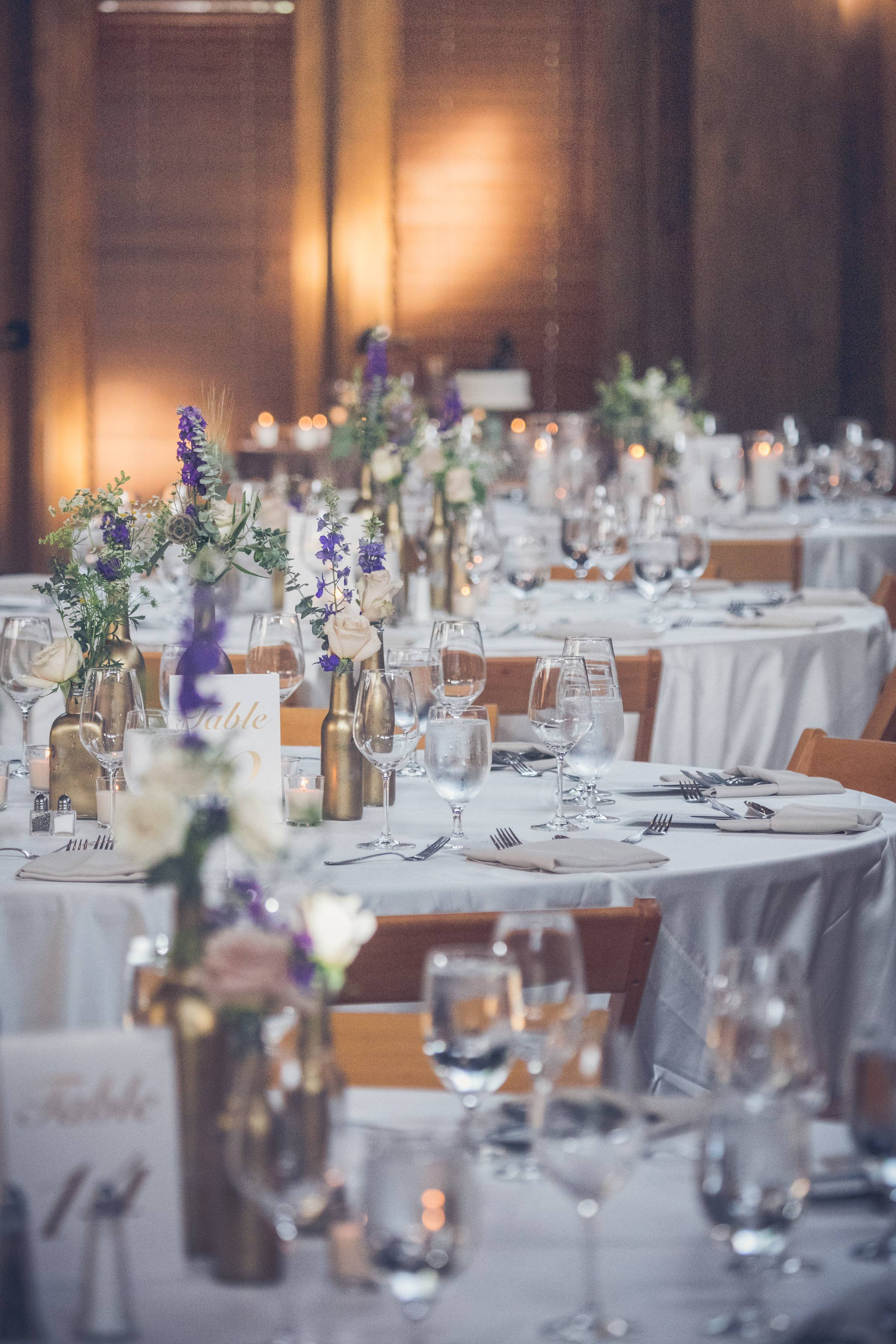 Colorado wedding planned by Revel & Roots Events | gold and purple wedding reception inspiration
