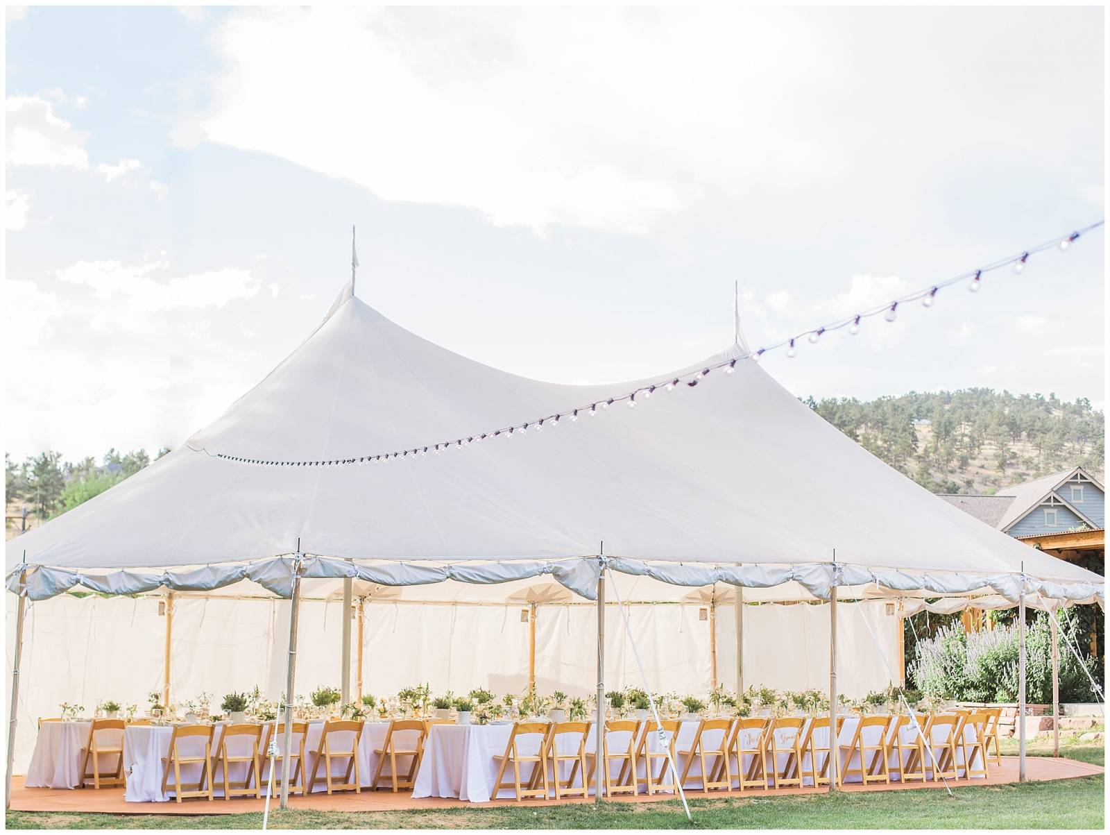 outdoor white tent wedding reception planned by root + gather events