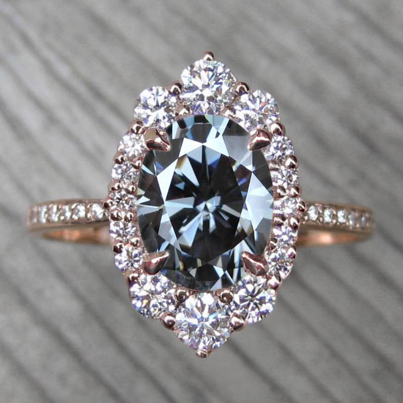 Kristin Coffin Jewelry | vintage inspired engagement ring | SOFIA OVAL ICONIC™ GREY MOISSANITE, DI