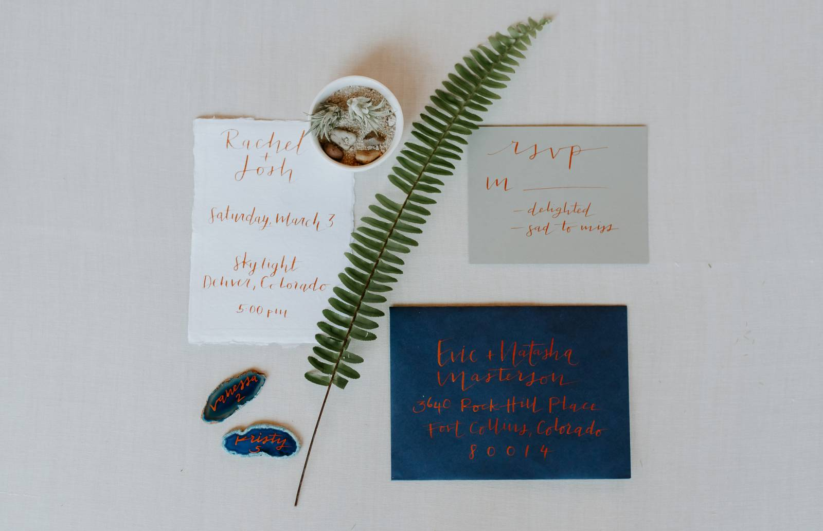 simple calligraphy wedding invites captured by Colorado photographer Mariana Ziegler Photography