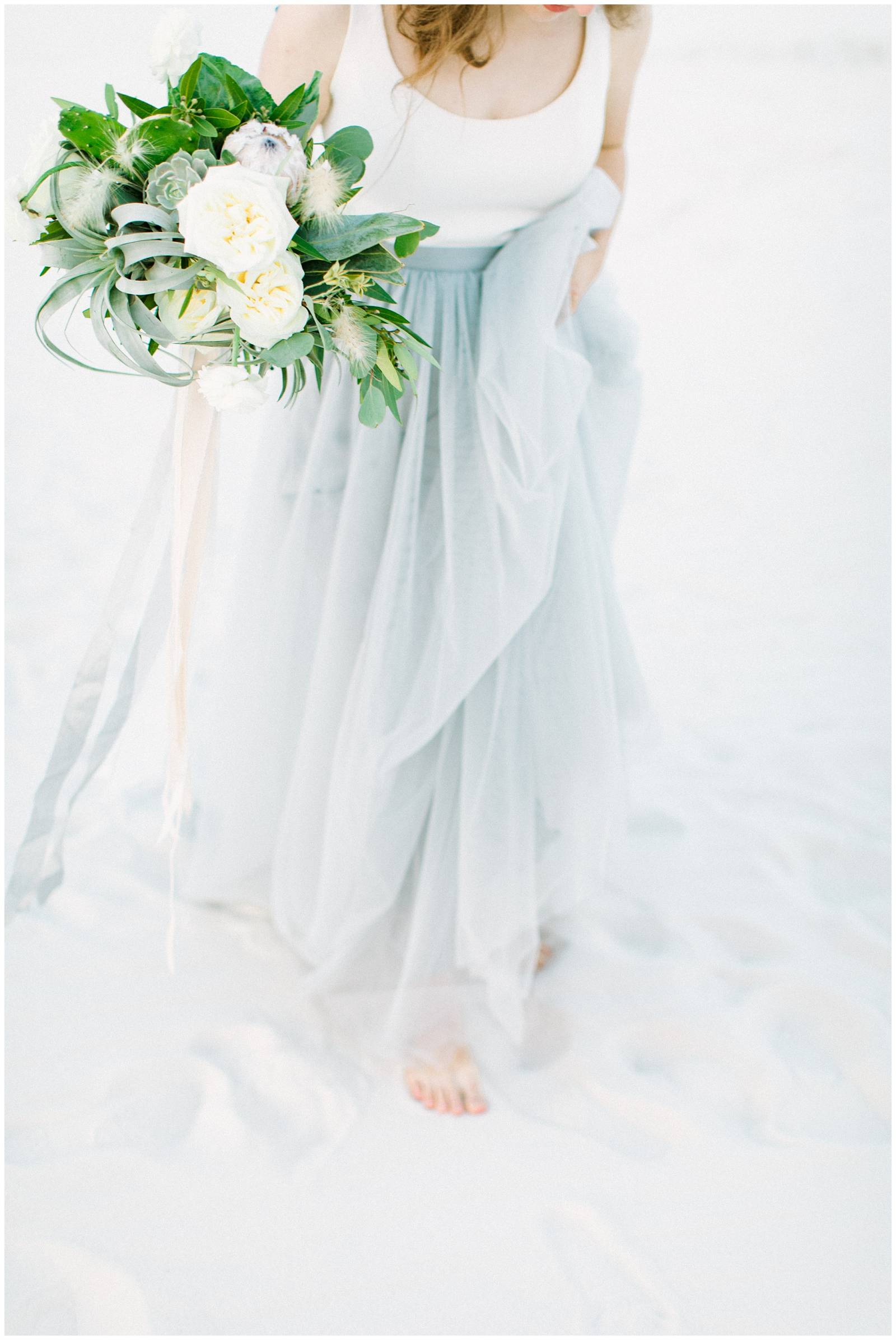whimsical White Sands elopement inspiration | New Mexico | bride in Alexandra Grecco blue tulle skir