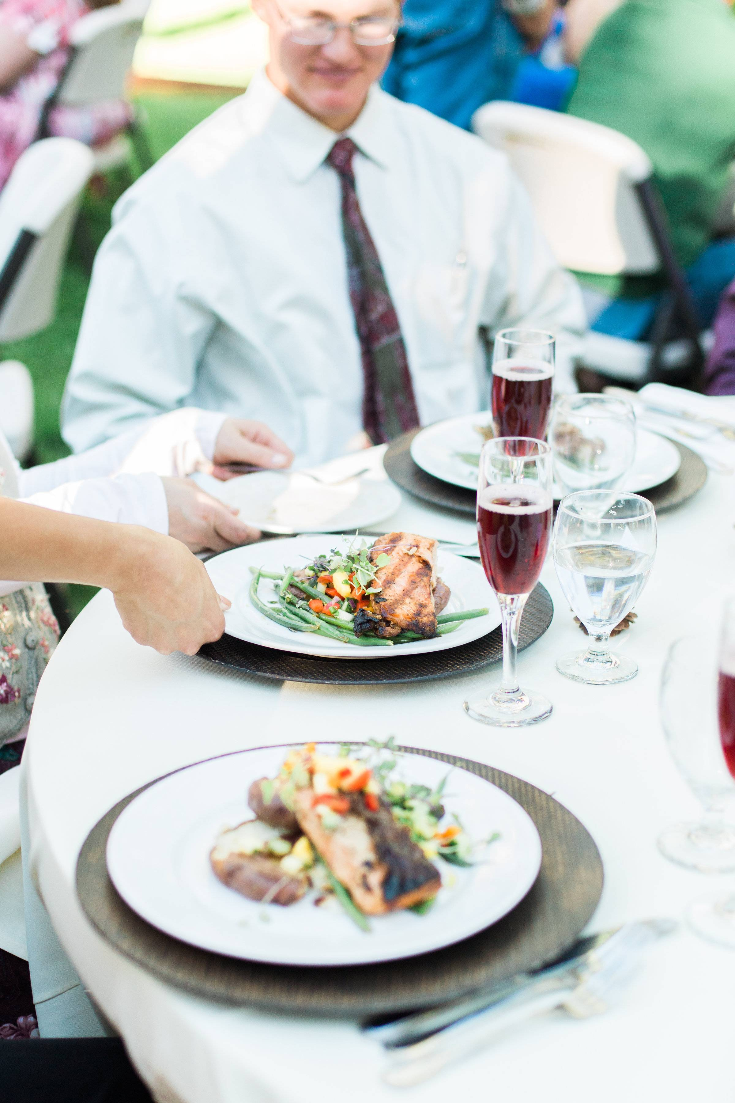 wedding reception plated dinner inspiration | Food For Thought Catering Company in Montana