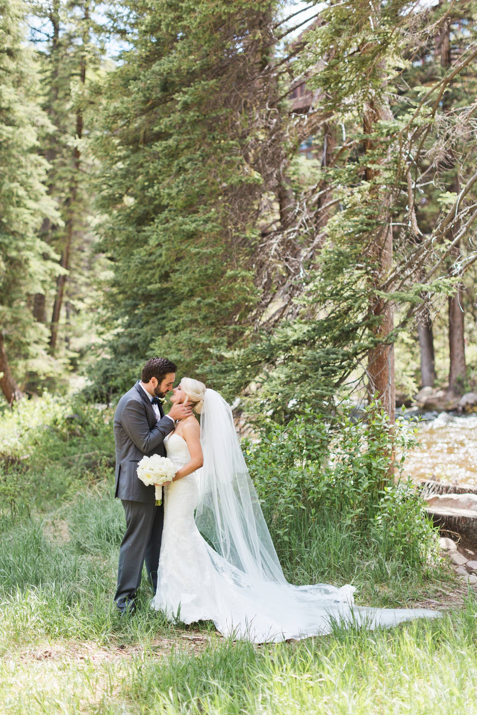 wedding portrait in the forest | classy Rocky Mountain wedding in Vail, Colorado