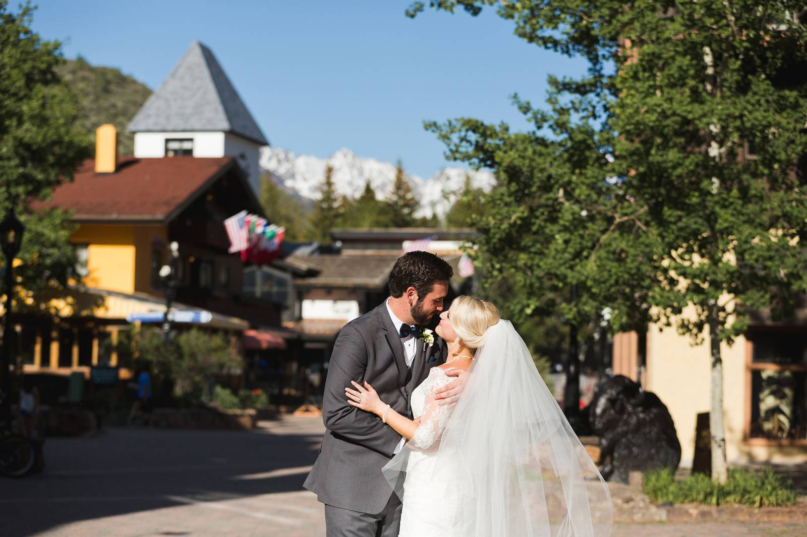 wedding portrait in downtown Vail | classy Rocky Mountain wedding in Vail, Colorado