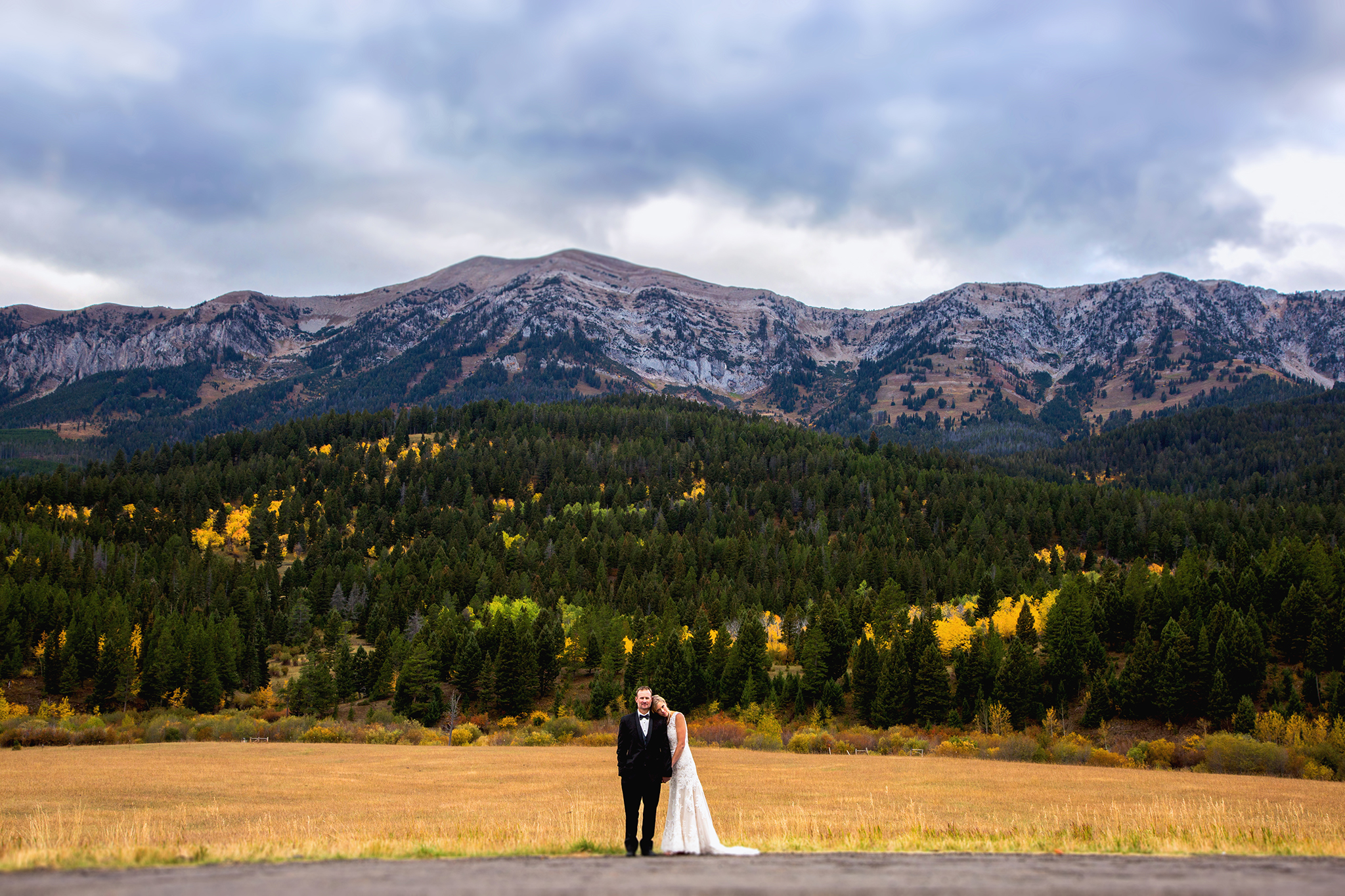 Rocky Mountain fell wedding portrait of bride and groom | wedding photo captured by Montana wedding