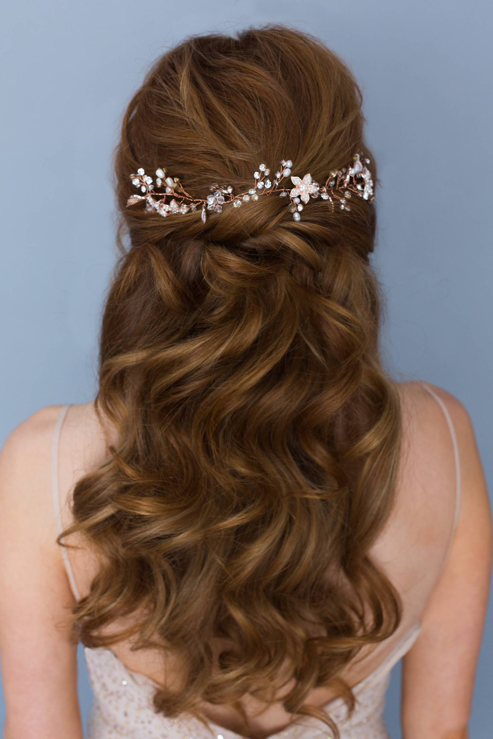 wedding hairstyle inspiration for bride to be | long and wavy | half up half down