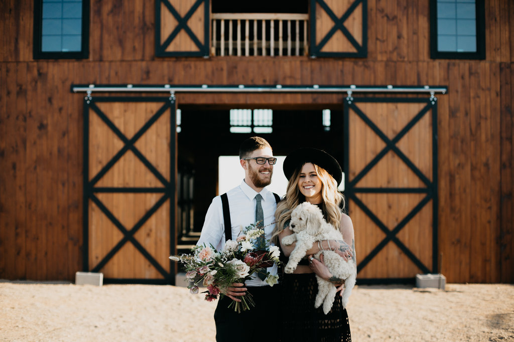 puppy in engagement shoot | Styled Bohemian Horse Barn Engagement