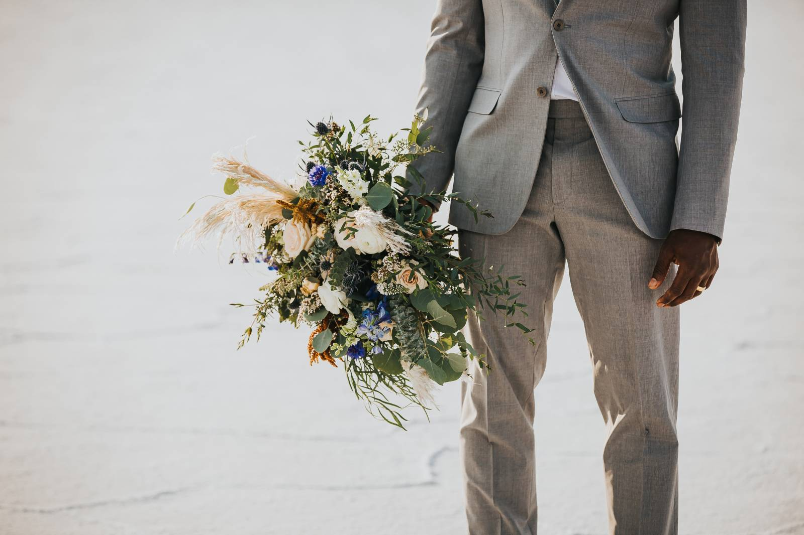 Salt Flats, Utah | gold and teal wedding inspiration | wedding bouquet