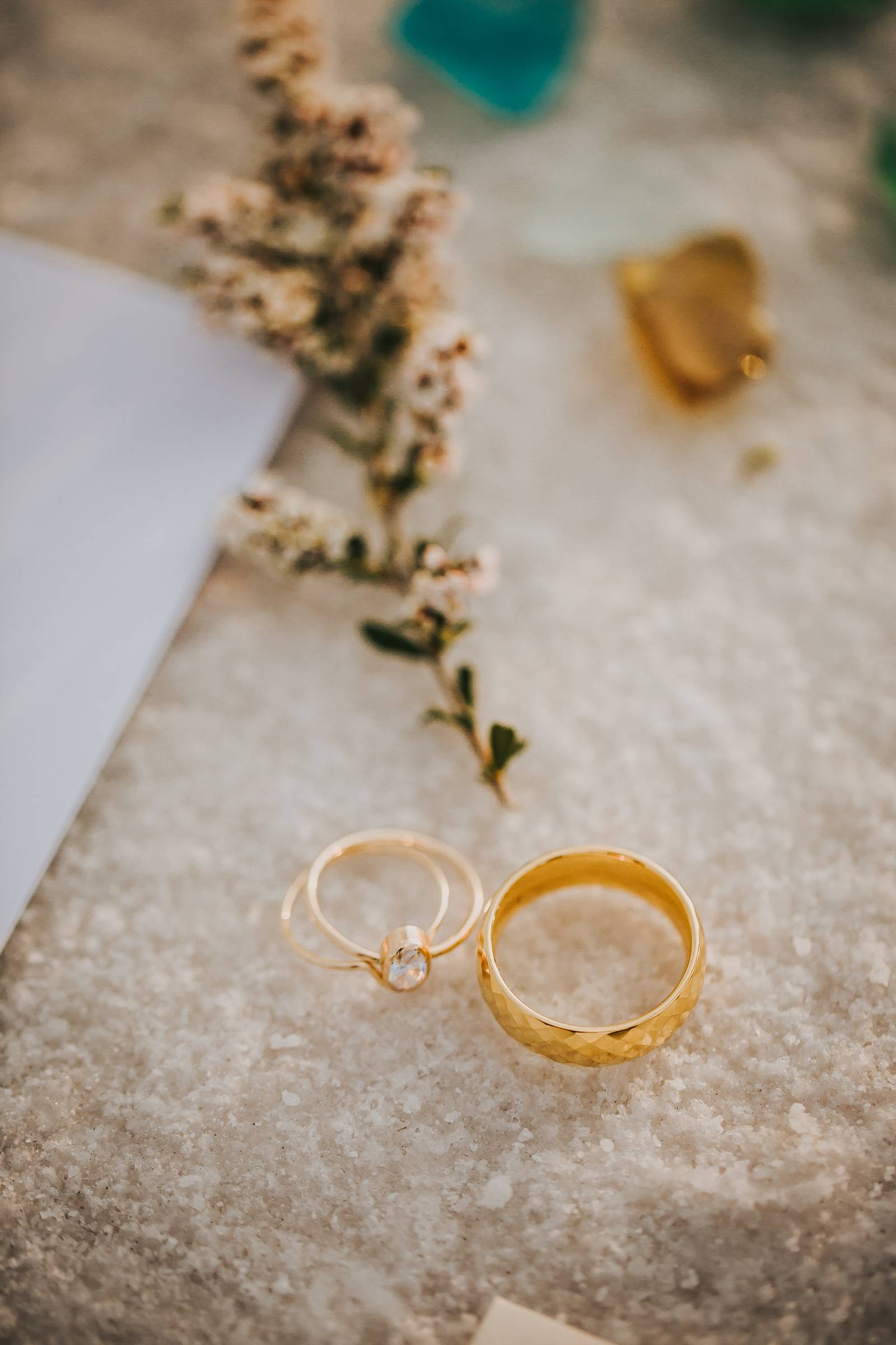 Salt Flats, Utah | gold and teal wedding inspiration | gold wedding rings