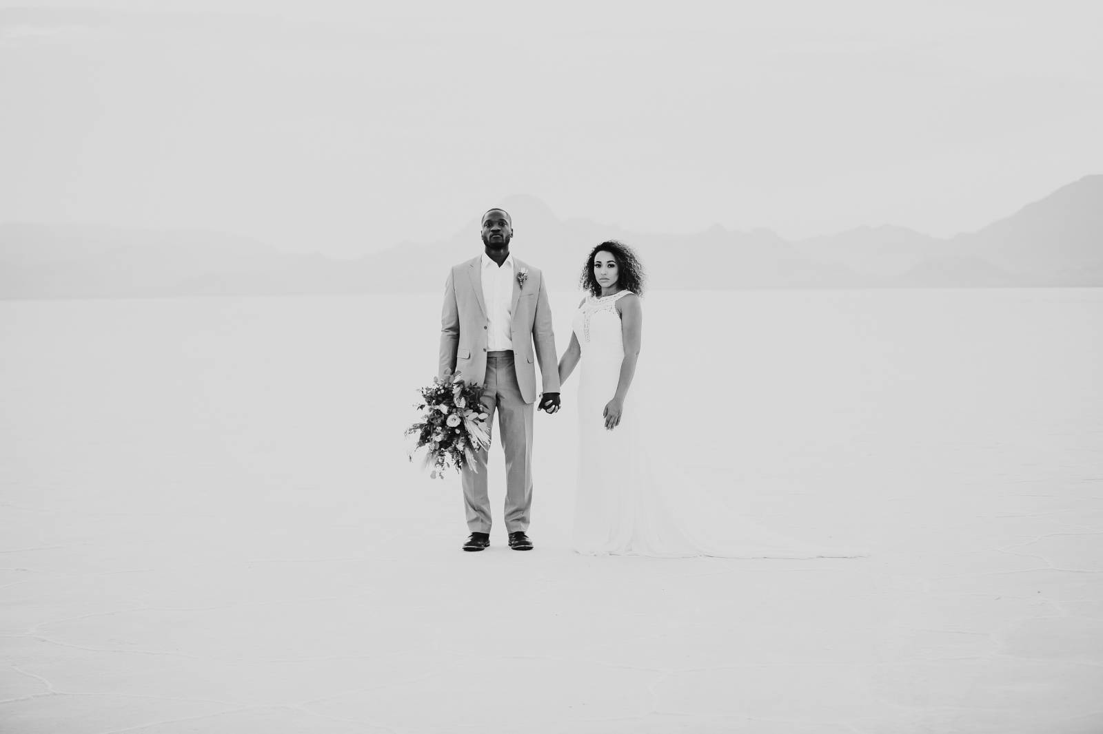 Salt Flats, Utah | gold and teal wedding inspiration | bride and groom