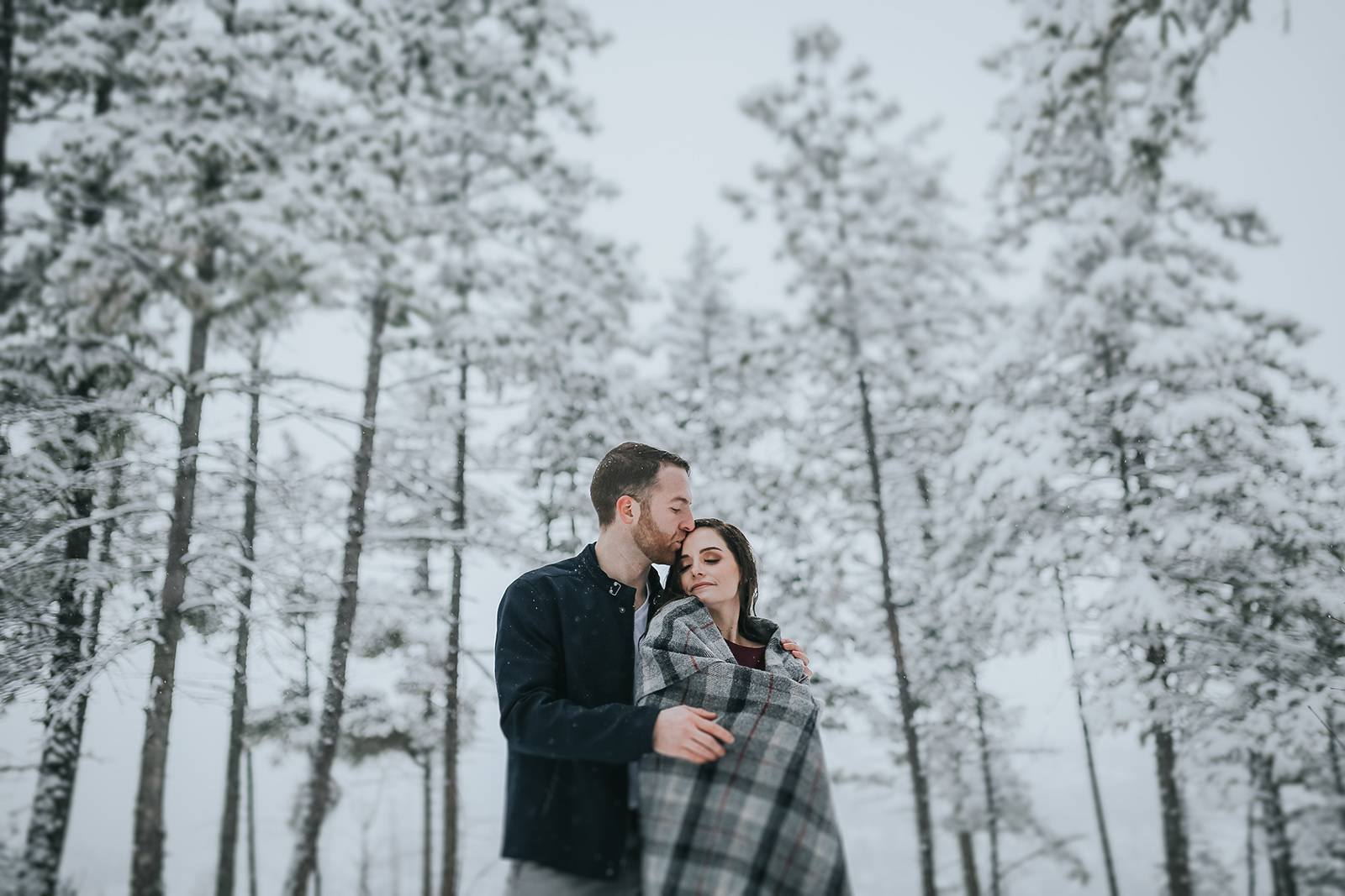 Snowy Winter Kelowna Engagement Session | British Columbia Inspiration