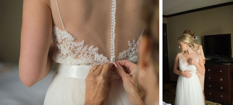 buttoning bridal gown