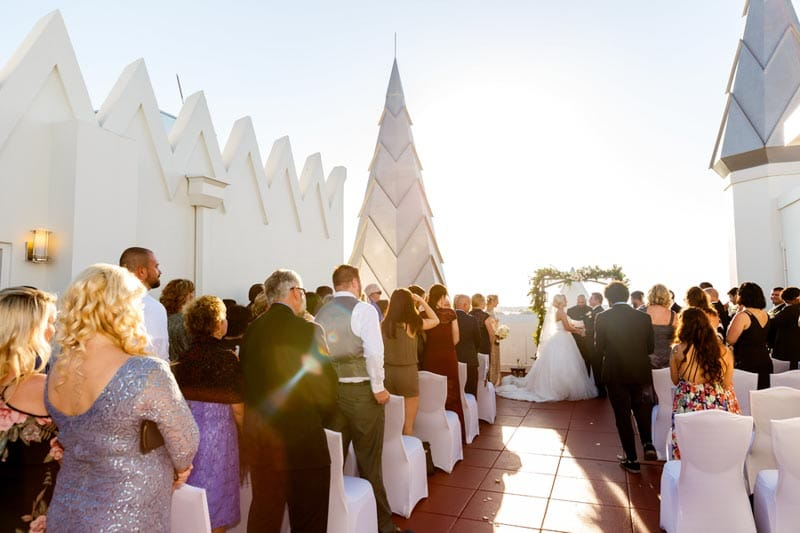 wedding ceremony on roof top of the Castle Hotel