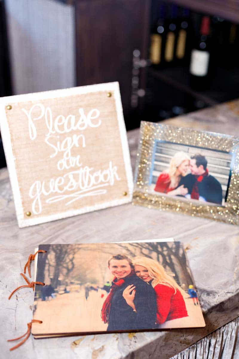 photo wedding guest book on rustic table