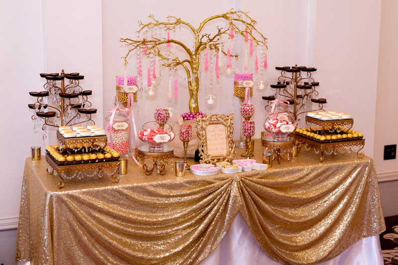 gold and pink candy buffet by Florida Candy Buffets