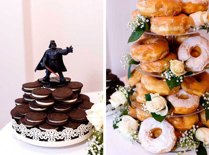 Darth Vader figurine on a stack of Oreos next to a tower of donuts