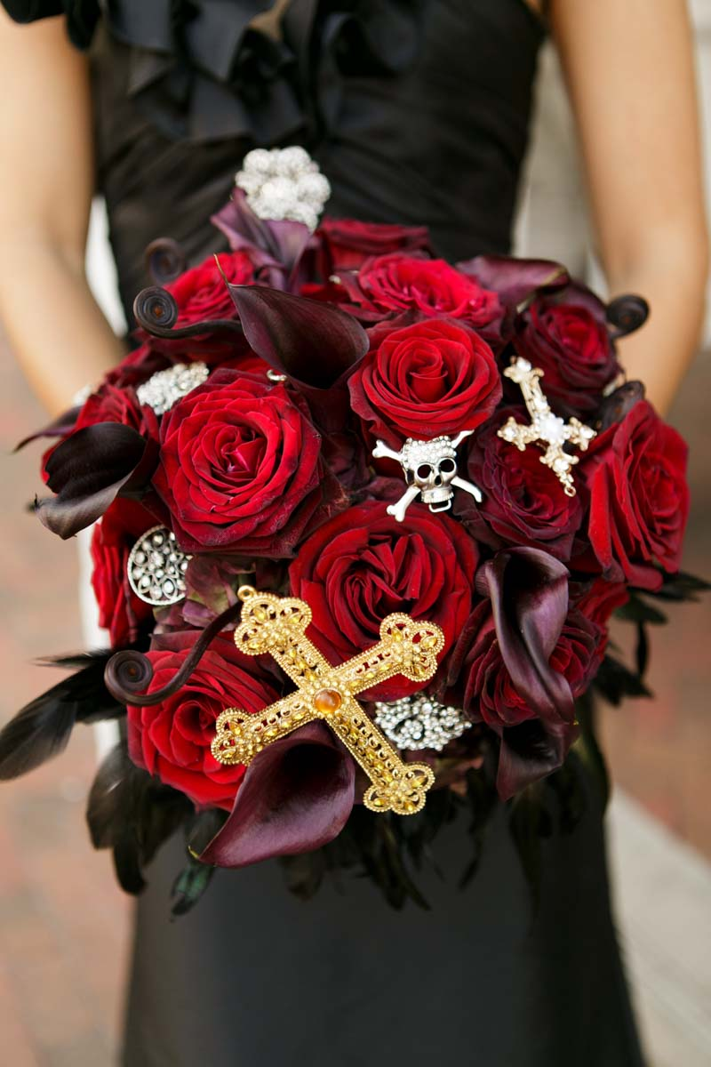 red rose with rhinestone skulls and crosses