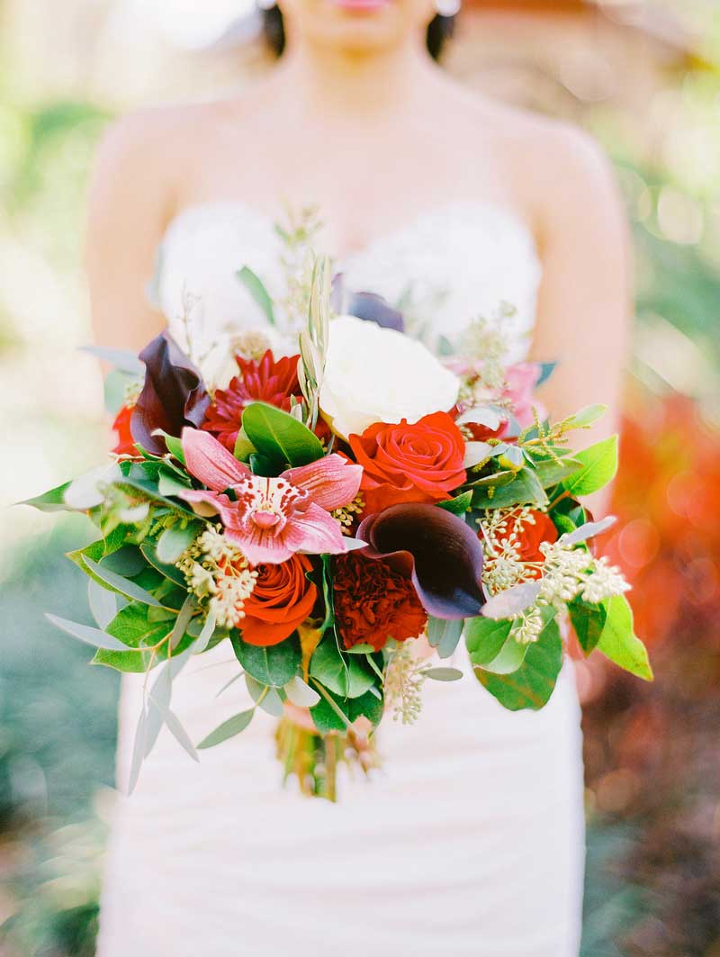 red orchid and purple calla lily bridal bouquet
