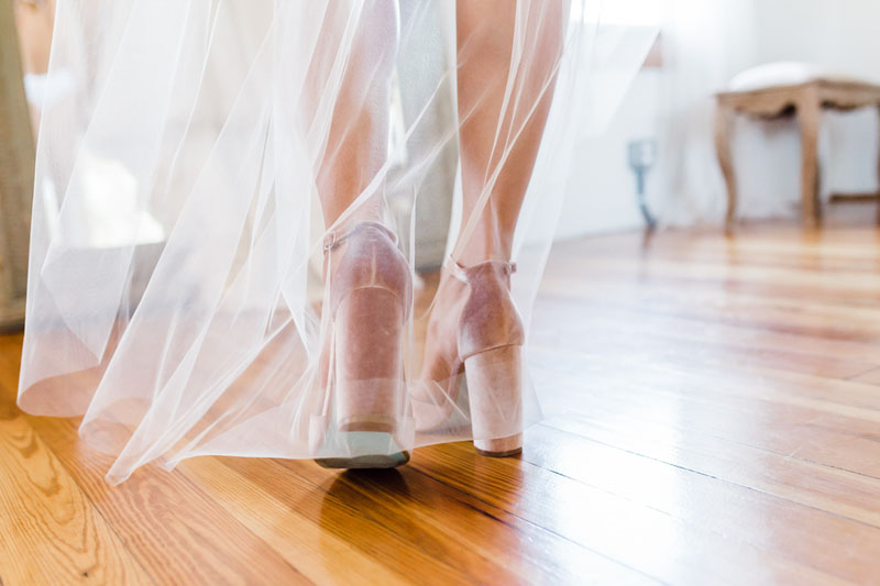 bride walking in chucky heel bridal shoes