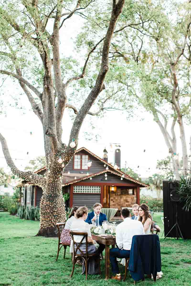 wedding guests sitting at table outside