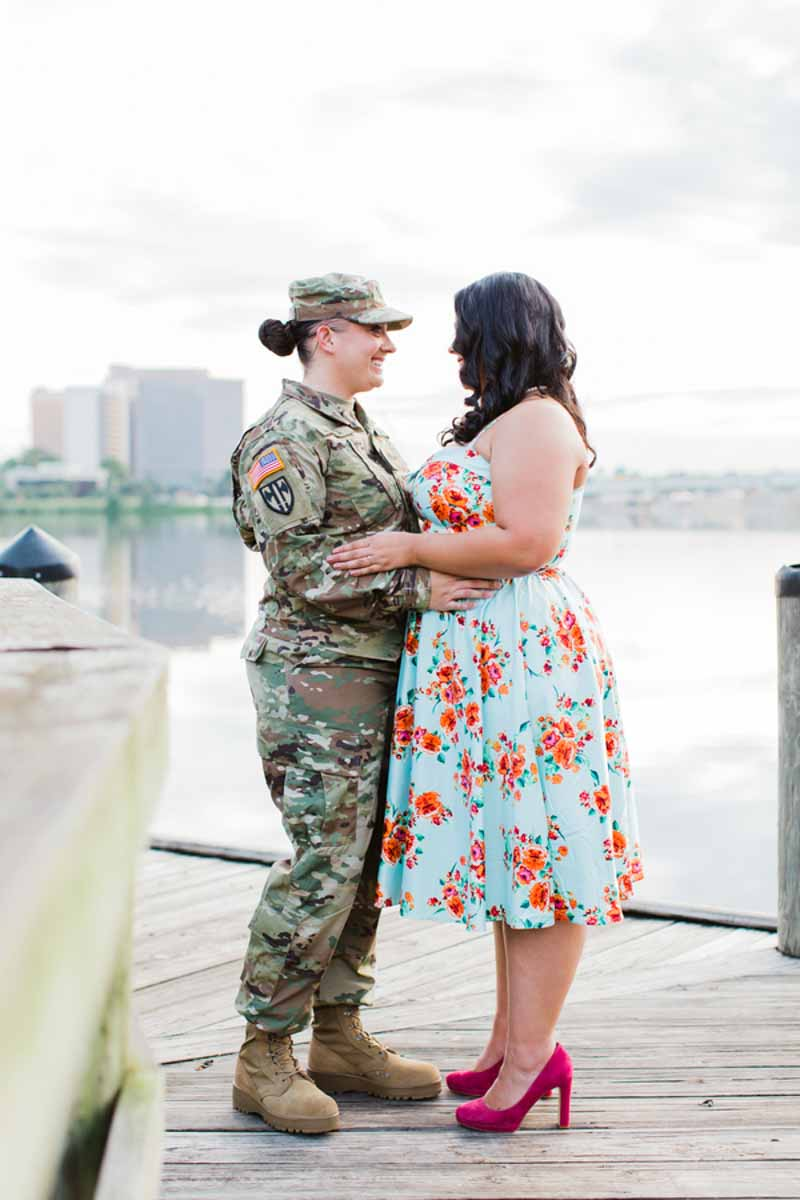 woman in military uniform holding fiance